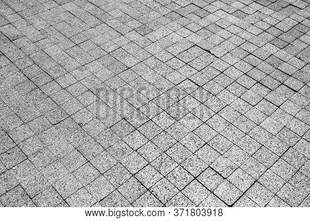 Abstract Background Of Paving Stones. Outdoor Paving Stone Gray. Cobblestone Pavement. Background Fo