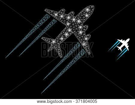 Glowing Web Mesh Flying Airplane Trace With Glowing Spots. Illuminated Vector 2d Model Created From