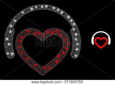 Glare Web Mesh Romantic Dj Headphones With Lightspots. Illuminated Vector 2d Model Created From Roma