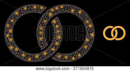 Glare Web Mesh Marriage Rings With Glowing Spots. Illuminated Vector 2d Model Created From Marriage