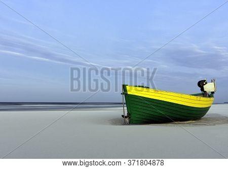 Fishing Boat On Polish Beach - Debki, Pomerania, Poland