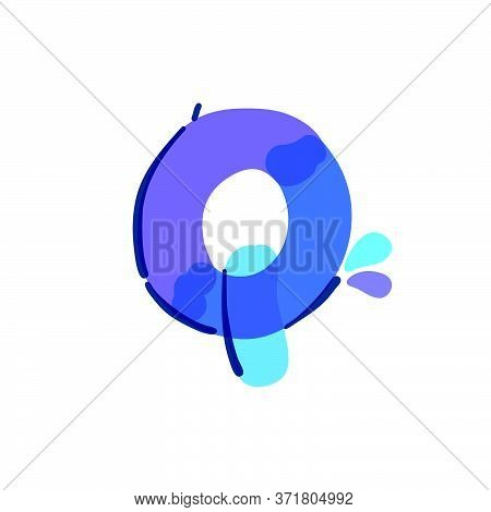 Q Letter Logo With Water Drops And Waves. Handwritten With A Felt-tip Pen. Vector Bold Marker Font C