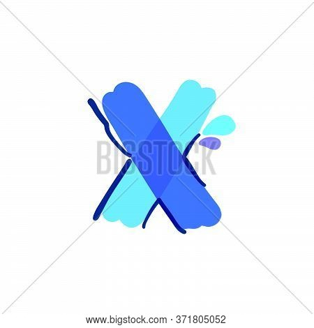 X Letter Logo With Water Drops And Waves. Handwritten With A Felt-tip Pen. Vector Bold Marker Font C
