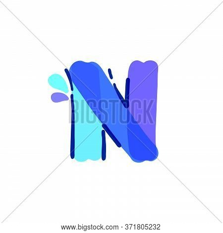 N Letter Logo With Water Drops And Waves. Handwritten With A Felt-tip Pen. Vector Bold Marker Font C