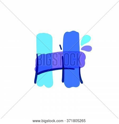 H Letter Logo With Water Drops And Waves. Handwritten With A Felt-tip Pen. Vector Bold Marker Font C