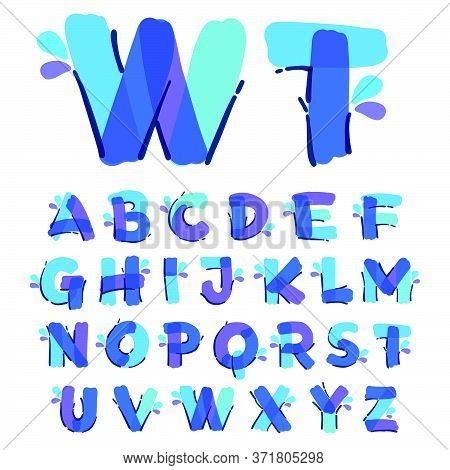 Alphabet With Water Drops And Waves. Handwritten With A Felt-tip Pen. Vector Bold Marker Font Can Be