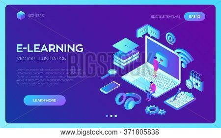 E-learning. Innovative Online Education And Distance Learning Concept. Webinar, Seminar, Conference,
