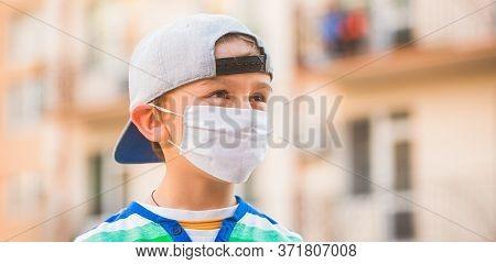Coronavirus Epidemic. Boy With Protection Facemask. Coronavirus Quarantine. Health Care. Face Mask F