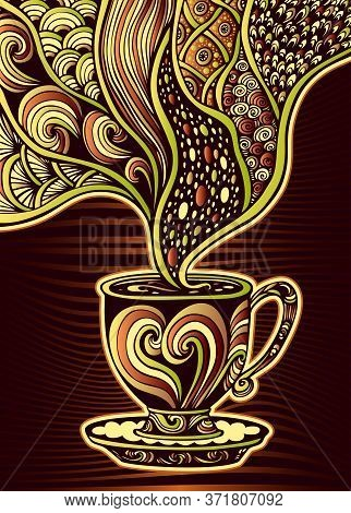 Cup Of Coffee Or Tea In Zen Tangle Zen Doodle Style Colorful For Decoration And Advertising Of Coffe