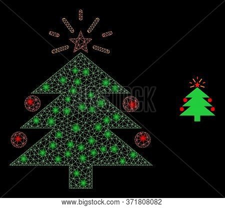 Glare Web Mesh Christmas Fir Tree With Light Spots. Illuminated Vector 2d Model Created From Christm
