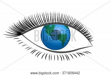 Eye With Planet Earth Pupil. Symbol For Feminine View Of The World, Planetary Future, Social Develop