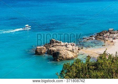 Zakynthos, Greece - October 2, 2017: Xigia Beach - Natural Sulfur Spa On Zakynthos Island. Greece.