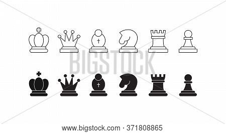 Chess Pieces Icon Set. Included Icon King, Queen, Bishop, Knight, Rook, Pawn. Silhouettes Isolated O