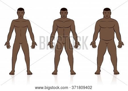 Body Types. Slim, Normal And Fat Black Man. Underweight, Normal Weight And Overweight Male Body. Com