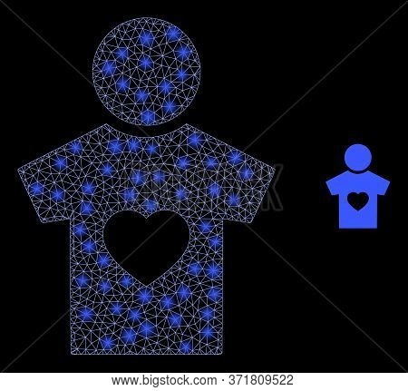 Bright Web Mesh Boyfriend With Lightspots. Illuminated Vector 2d Constellation Created From Boyfrien