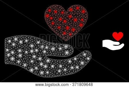 Glowing Web Network Palm Offer Love Heart With Glowing Spots. Illuminated Vector 2d Constellation Cr