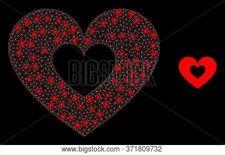 Glowing Web Mesh Love Heart With Light Spots. Illuminated Vector 2d Constellation Created From Love