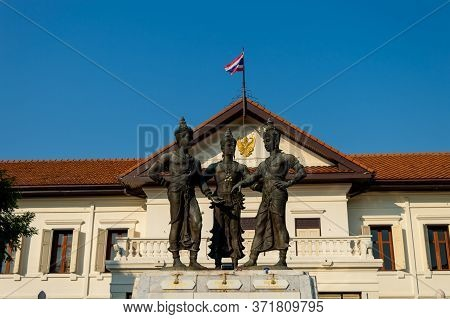Chiang Mai Thailand-10 January 2020:the Three Kings Monument Is A Monument To The Creators Of Wiang