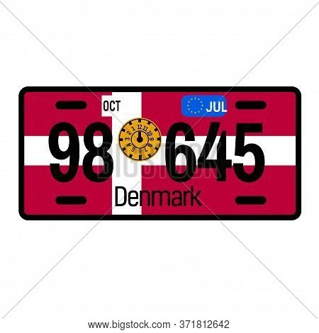 Denmark Automobile License Plate On White Background. Country License Plate Series.