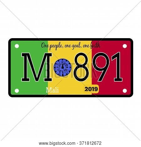 Mali Automobile License Plate On White Background. Country License Plate Series.