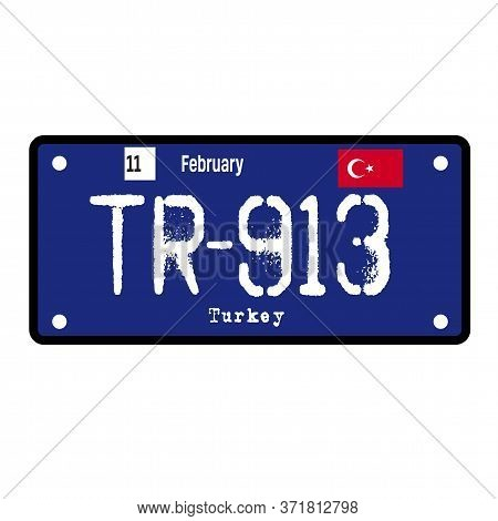Turkey Automobile License Plate On White Background. Country License Plate Series.