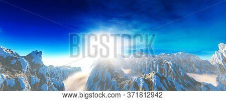 Winter mountain illustration - 3d illustartion