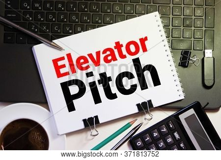Elevator Pitch, On The Tablet Pc Screen Held By Businessman Hands - Online, Top View