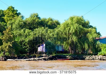Lush Vegetation, Boat, Dead Tree Trunk And Wooden Pier. Tigra Delta In Argentina, River System Of Th