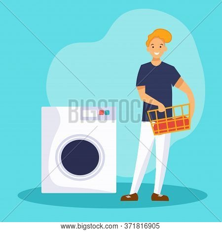 Man Washing Clothes Laundry In A Washing Machine. Smiling Guy Holding A Laundry Basket.