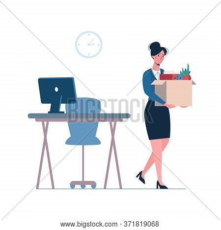 Dismissed Woman Leaves The Office With A Box In His Hands, Depression. Job Loss Due To Crisis, Contr