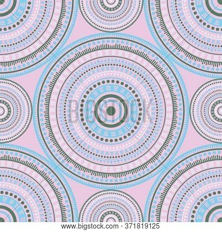 Arabesque Folk Motifs Seamless Pattern. Circle Medallion Mandala Geometric Tiles. Fabric Print Templ