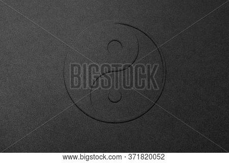 Yin And Yang Chinese Philosophy Balance Symbol, Black On Black