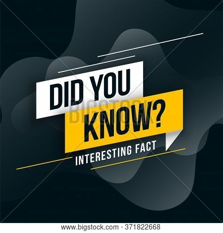 Did You Know Interesting Fact Background Design