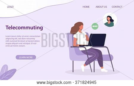 Telecommuting Or Work From Home Concept With A Young Woman Sitting Working Online On A Laptop Comput