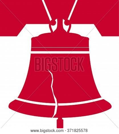 Liberty Bell. One Of The Symbols Of Usa, Independence And Liberty. Vector Illustration.