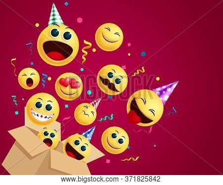 Emoji Birthday Surprise Vector Concept. Emoji In Birthday Party Surprise Box With Party Hat And Conf
