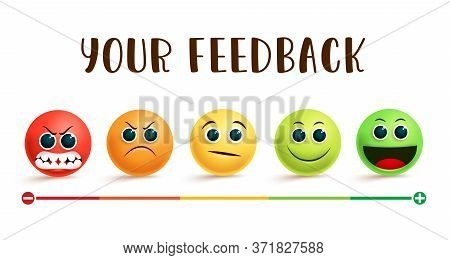 Emoji Feedback Rating Vector Banner. Your Feedback Text With  Emojis In Different Facial Expression
