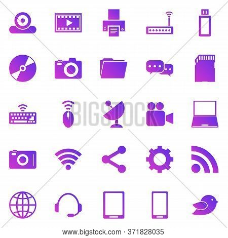 Hi-tech Gradient Icons On White Background, Stock Vector