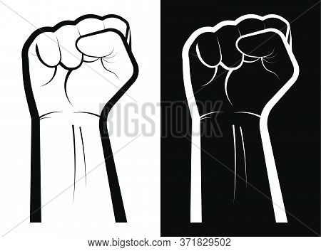 Black Lives Matter Social Protest. No To Racism. Hand Clenched Into A Fist. A Symbol Of Strength, Th