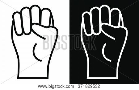 Hand Clenched Fist Icon. Symbol Of Freedom And The Fight Against Injustice. Black White Vector