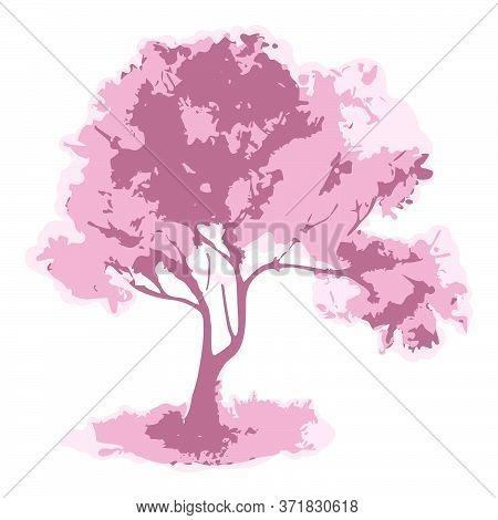 Watercolor Single Pink Monochrome Cherry Sakura Tree Isolated Vector Art