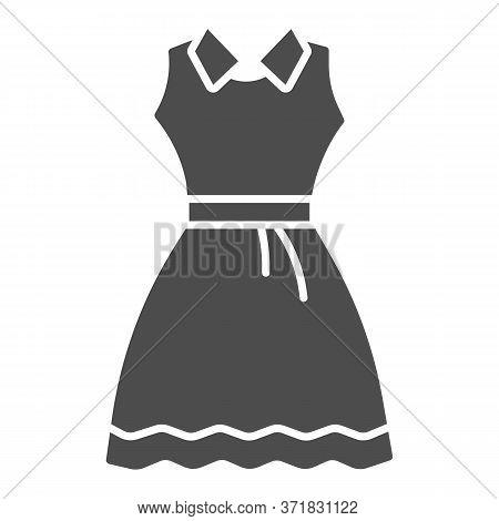 Sundress Solid Icon, Summer Clothes Concept, Evening Dress Sign On White Background, Elegant Dress I
