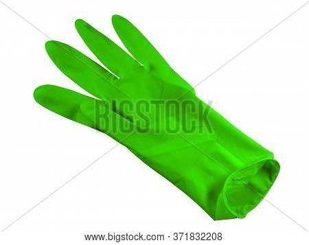 Green Medical Rubber Glove, Isolated On White Background. Clipping Path Included.