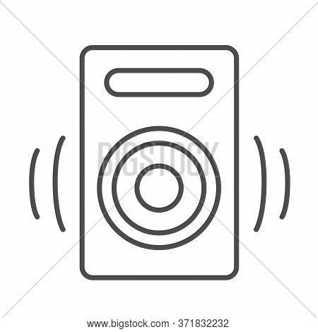 Speaker Thin Line Icon, Media Concept, Audio Speaker Sign On White Background, Sound From Speaker Ic