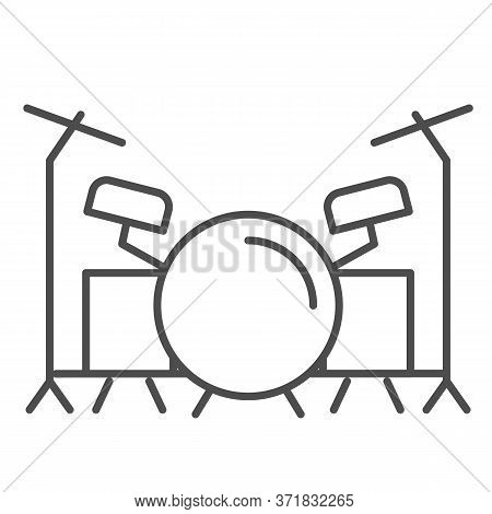 Drums Thin Line Icon, Music Festival Concept, Drum Set Sign On White Background, Drum Kit Icon In Ou