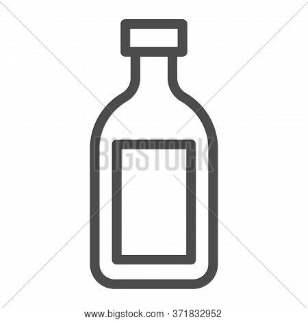Cognac Line Icon, Alcohol Drinks Concept, Cognac Brandy Bottle Sign On White Background, Alcohol Gla