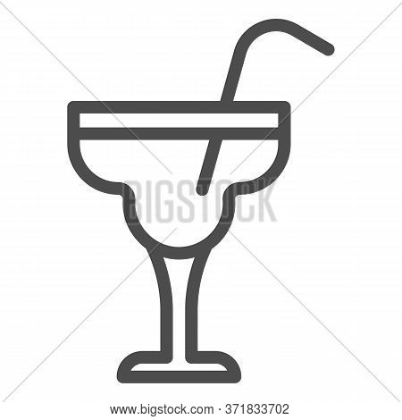 Glass With Margarita Cocktail Line Icon, Alcohol Drinks Concept, Cocktail Sign On White Background,