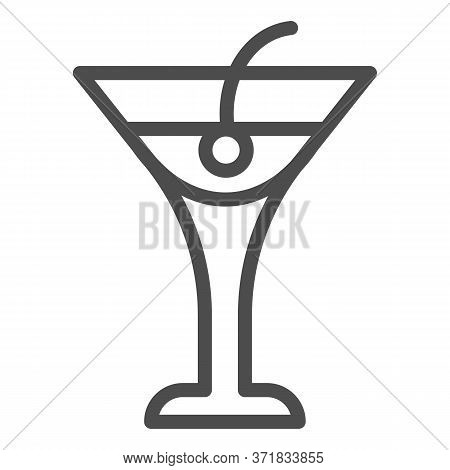 Cocktail Drink Line Icon, Beverage Concept, Cocktail With Cherry Sign On White Background, Beach Coc
