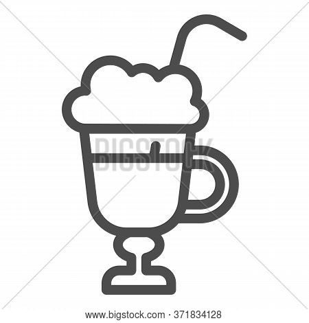 Latte With Cream In Glass Line Icon, Beverage Concept, Latte Coffee With Whipped Cream Sign On White