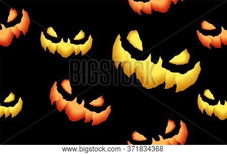 Seamless Pattern With Spooky And Crazy Pumpkins, Monsters Faces In The Dark For Halloween Design. 3d